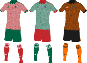 The uniforms of the Hoenn national football team.