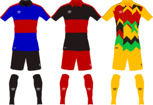 The uniforms of the Shireroth national football team.